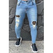 Calça Codi Jeans Skinny Azul Detalhe Coxa