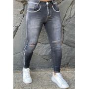 Calça Codi Jeans Skinny Cinza Detalhe Joelho