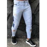Calça Codi Skinny Azul Claro Destroyed Young Style