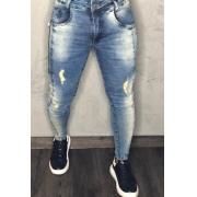 Calça Codi Skinny Azul Jeans Detalhe Ziper Lateral