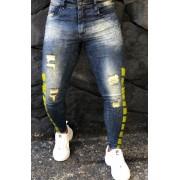 Calça Codi Skinny Azul Jeans Detalhes Amarelos