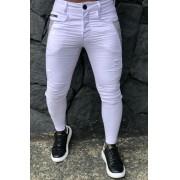 Calça Masculina Codi Skinny Branca Detail Line Gray