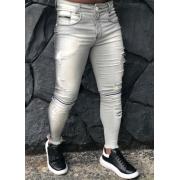 Calça Codi Skinny Cinza Detalhe Joelho Jeans