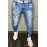 Calça Codi Jeans Skinny Azul Claro Detalhes Na Perna