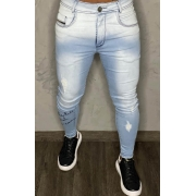 Calça Codi Jeans Skinny Azul Claro Escritas/Perna