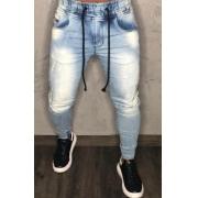 Calça Jogger Codi Jeans Skinny Azul Faixa Lateral