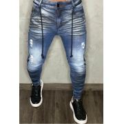Calça Codi Jeans Skinny Azul Two Faixas Frontais e Cordão
