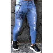 Calça Masculina Codi Skinny Azul Detalhe Corrente