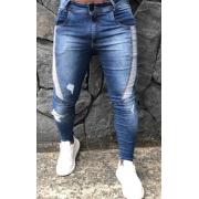 Calça Masculina Codi Skinny Azul Detalhe Faixa