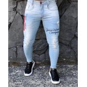 Calça Masculina Codi Skinny Azul Detalhe Vermelho