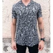 Camisa de Botão Starpolis Folhagem Preta