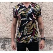 Camisa de Botão Starpolis Preta Folhagem Two