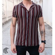 Camisa de Botão Starpolis Preta Linhas