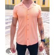 Camisa de Botão Starpolis Salmão Listras