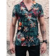 Camisa de Botão Starpolis Verde Florais Laranja