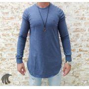 Camisa Manga Longa M Artt Azul Detalhes Ombro
