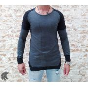 Camisa Manga Longa M Artt Cinza Detalhes Ombro