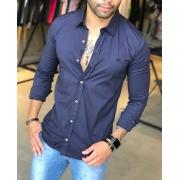 Camisa Social Slim M Artt Azul