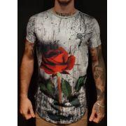 Camiseta Amazing Long Line  Red Rose Grey