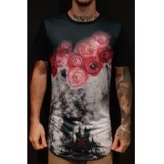 Camiseta Amazing Long Line Roses in the Snow Black