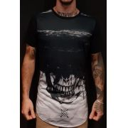 Camiseta Amazing Long Line Skull Dark Black