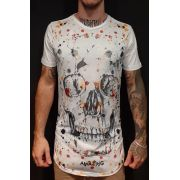 Camiseta Amazing Long Line White Skull Balls