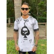 Camiseta Branca Às Espadas Long  Line Premium Volk Culture