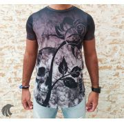 Camiseta Evoque Black Flower and Skull