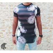 Camiseta Evoque Black Flowers Stripes
