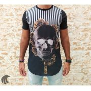 Camiseta Evoque Black Skull Gold Flowers
