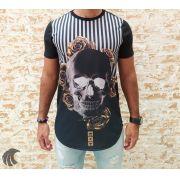 Camiseta Evoque Black Skull Gold Flowers