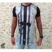 Camiseta Evoque Black Vertical Lines Skull