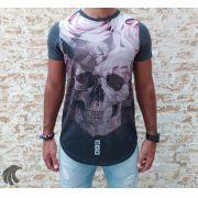 Camiseta Evoque Gray Skull Roses