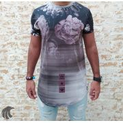 Camiseta Evoque Grey Flowers Gradient