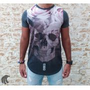 Camiseta Evoque Grey Skull and Mixed Roses