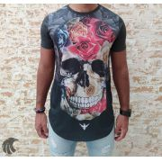 Camiseta Evoque Grey Skull Filling Flowers