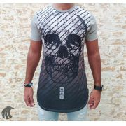 Camiseta Evoque Grey Stripes Skull Two