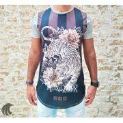 Camiseta Evoque Grey Tiger Horizontal Stripes