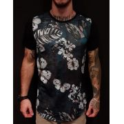 Camiseta Evoque Long Butterflies Flowers Black