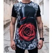 Camiseta Evoque Long Line Black Rose Carton