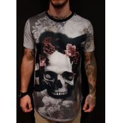 Camiseta Evoque Long Skull Pink Flower Gray