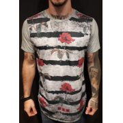 Camiseta Evoque Long Stripes and Roses