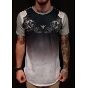 Camiseta Evoque Long  Tiger Leaves Gray