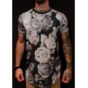 Camiseta Evoque Long White Flowers Gray
