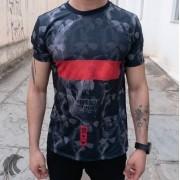Camiseta Evoque Preto T Shirt Faixa Vermelha Caveira