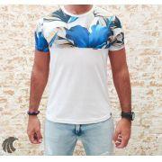 Camiseta Evoque White and Blue Flowers