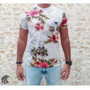 Camiseta Evoque White Coconut Trees and Flowers