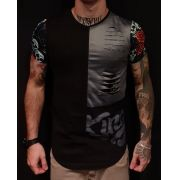 Camiseta King Joy Long Black Flowers