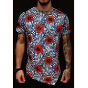Camiseta King Joy Long Flowers Red and Blue