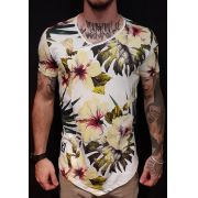 Camiseta King Joy Long Resiliência Flowers White